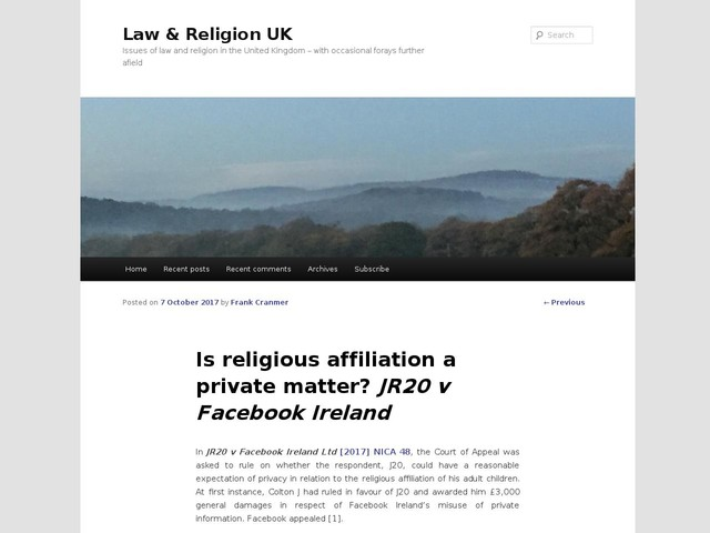 Is religious affiliation a private matter? JR20 v Facebook Ireland