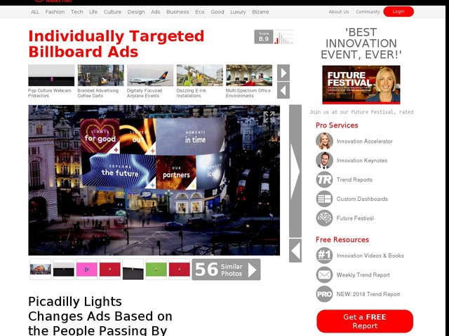 Individually Targeted Billboard Ads - Picadilly Lights Changes Ads Based on the People Passing By (TrendHunter.com)