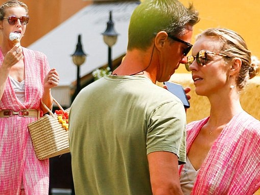 Eva Herzigova and fiancé swap loving looks in Italy