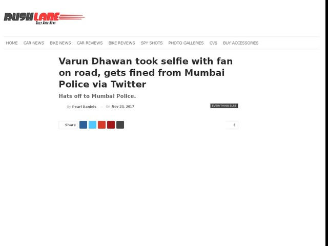 Varun Dhawan took selfie with fan on road, gets fined from Mumbai Police via Twitter