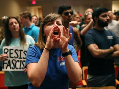 White supremacist shouted down at Florida college speech