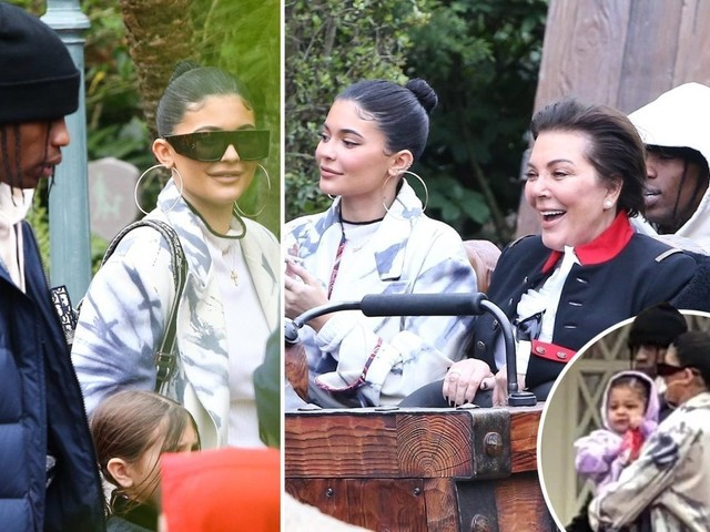Kylie Jenner and Travis Scott spark rumors they're back on as they play happy families at Disney World with Stormi