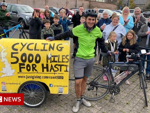 Surrey cyclist completes 5,000-mile round-Britain challenge