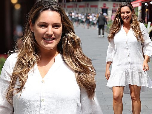 Kelly Brook oozes elegance in white summer dress outside radio studios