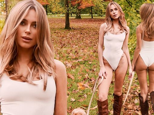 Kimberley Garner sends temperatures soaring as she dons just a SWIMSUIT to walk her dog