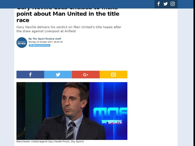 Gary Neville uses Chelsea to make point about Man United in the title race