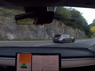 Tesla Model 3 Battles Mercedes-AMG A 45 S in Illegal Hillclimb Drift Dance