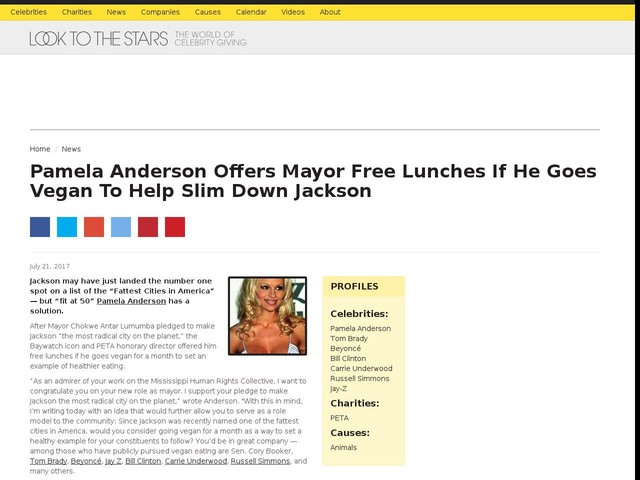 Pamela Anderson Offers Mayor Free Lunches If He Goes Vegan To Help Slim Down Jackson