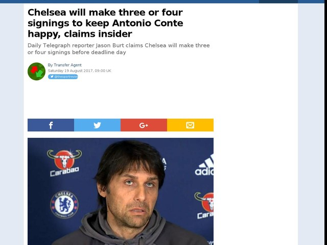 Chelsea will make three or four signings to keep Antonio Conte happy, claims insider
