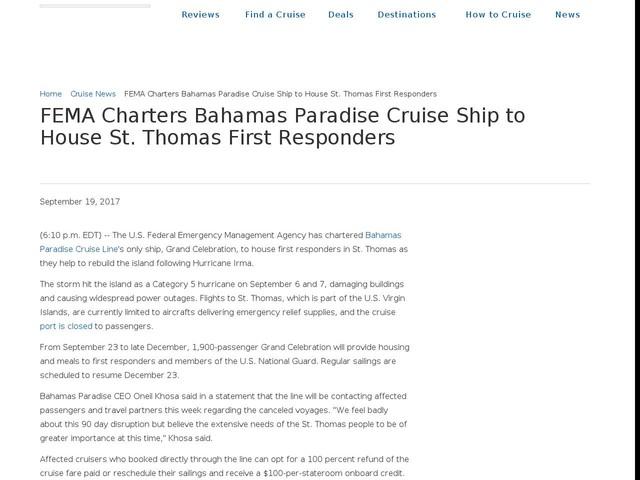 FEMA Charters Bahamas Paradise Cruise Ship to House St. Thomas First Responders