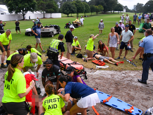 Multiple golf fans struck by LIGHTNING and taken to hospital at the PGA Tour Championship in Atlanta