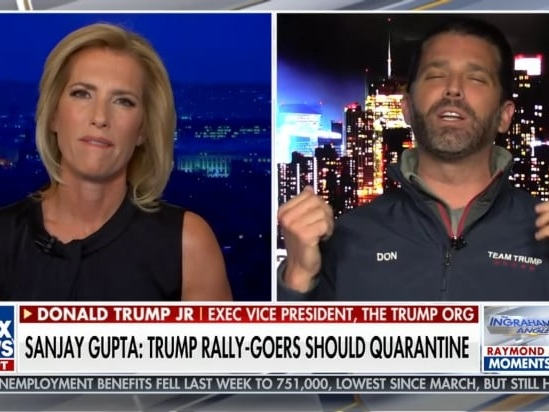 Don Jr Very Wrongly Tells Laura Ingraham That US COVID Numbers are 'Almost Nothing' (Video)