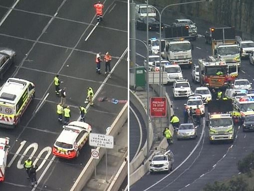 Man killed in freak accident on Sydney's M2 motorway after he was hit by a ute