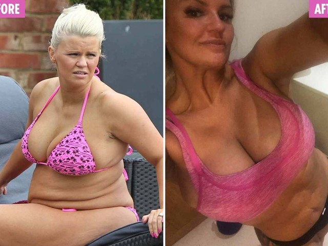 Kerry Katona shows off her abs after vowing to get in shape