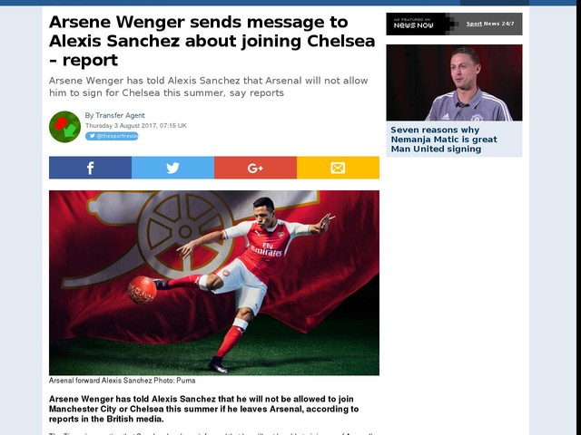 Arsene Wenger sends message to Alexis Sanchez about joining Chelsea – report