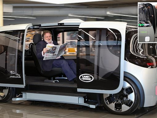 Inside the 75mph milk float! Jaguar says its new driverless car will cut casualties on British roads