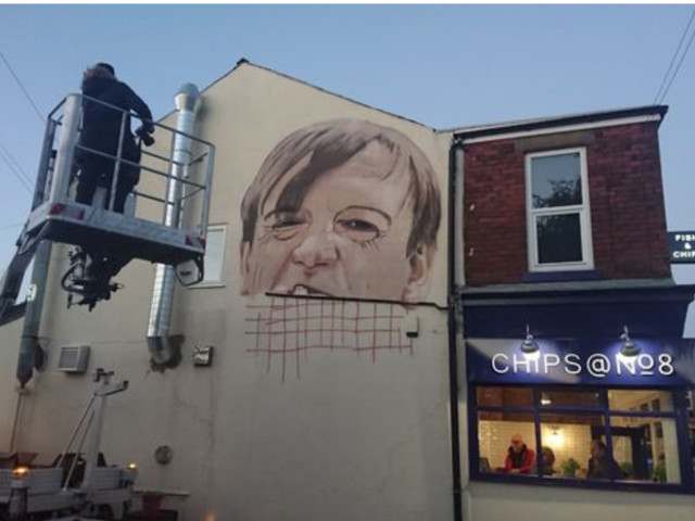 The perfect accolade? 20 foot high mural of Mark E Smith on his local chippie