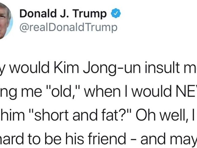 "Trump says he would never call Kim Jong-un ""short and fat,"" lashes out against ""haters and fools"""