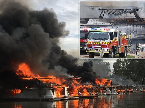 Houseboats worth millions destroyed in Moama marina fire