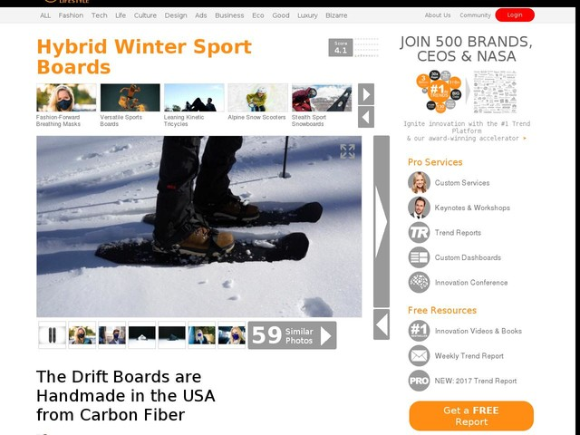 Hybrid Winter Sport Boards - The Drift Boards are Handmade in the USA from Carbon Fiber (TrendHunter.com)