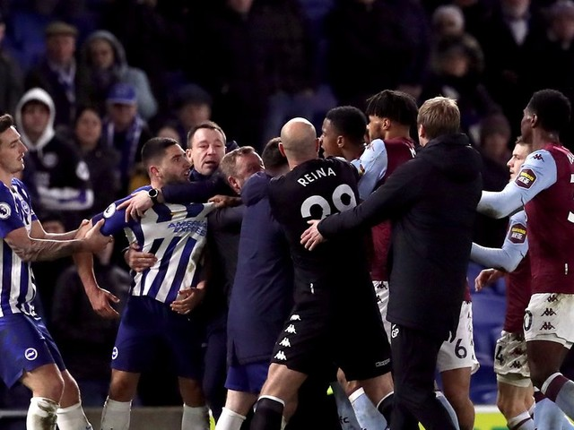 Aston Villa players involved in scuffle as Ezri Konsa and Neal Maupay share heated exchange
