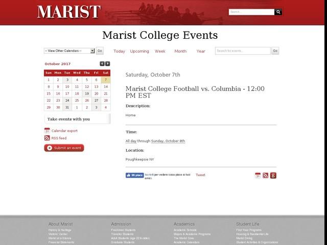 Oct 7 - Marist College Football vs. Columbia - 12:00 PM EST