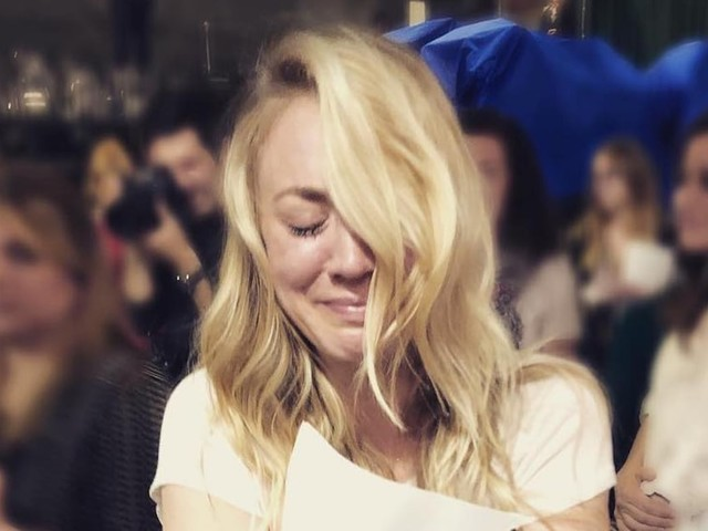 Kaley Cuoco Tearing Up Over the Final Big Bang Theory Table Read Might Make You Cry, Too
