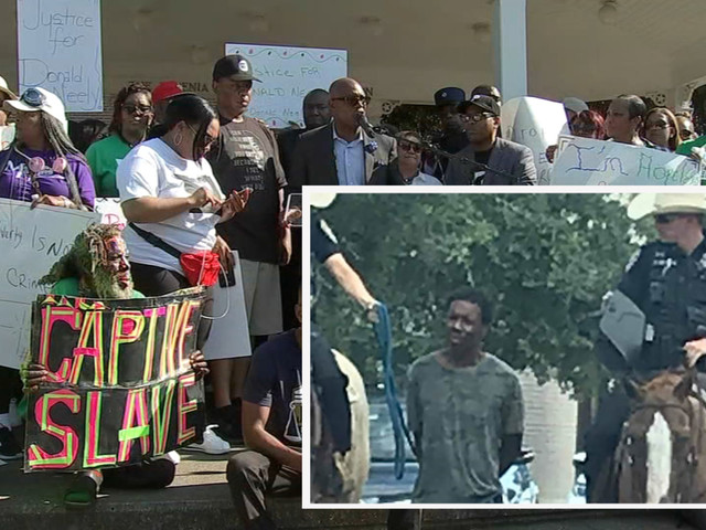 Hundreds gather in Galveston to protest controversial horseback arrest