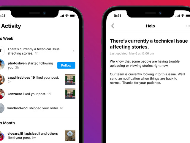 Instagram is testing in-app notifications for service outages