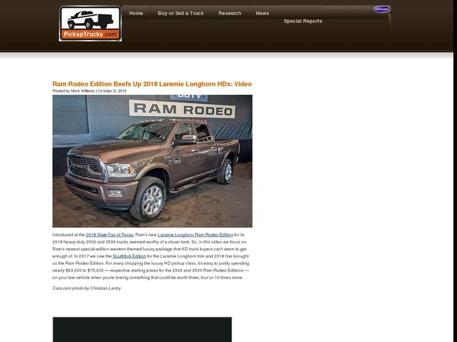 Ram Rodeo Edition Beefs Up 2018 Laramie Longhorn HDs: Video