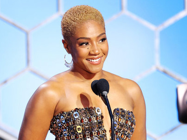 Tiffany Haddish Glitters In Gold Gown While Presenting at Golden Globes 2021