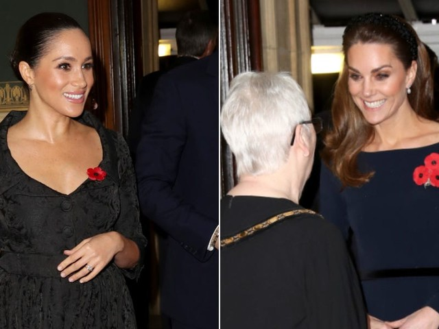 Meghan Markle and Kate Middleton wore elegant evening dresses for a rare joint appearance in London