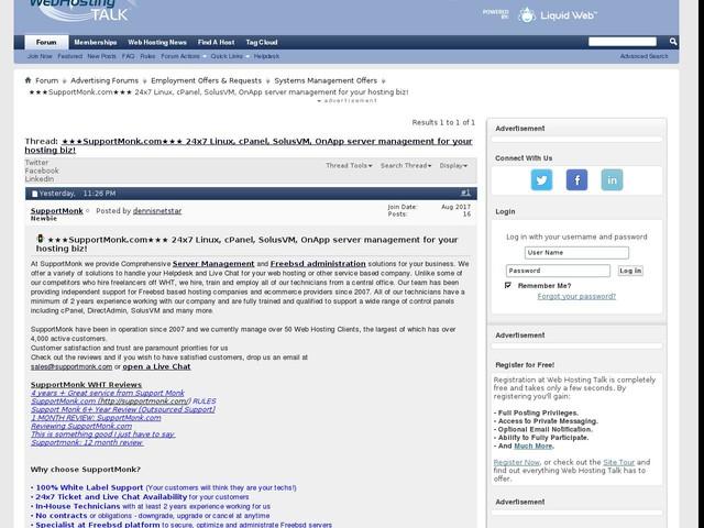 ★★★SupportMonk.com★★★ 24x7 Linux, cPanel, SolusVM, OnApp server management for your hosting biz!