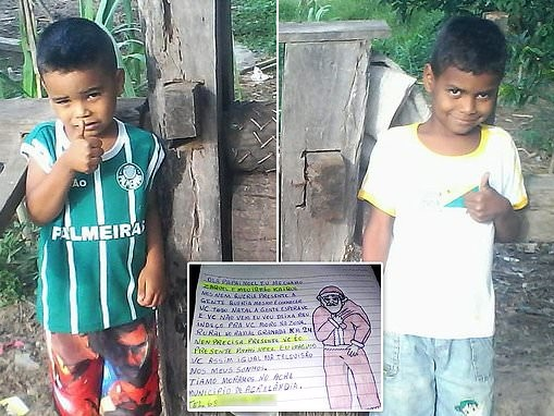 Boy, 9, pens Christmas letter asking Santa Claus to visit his home in Brazil and not bring presents
