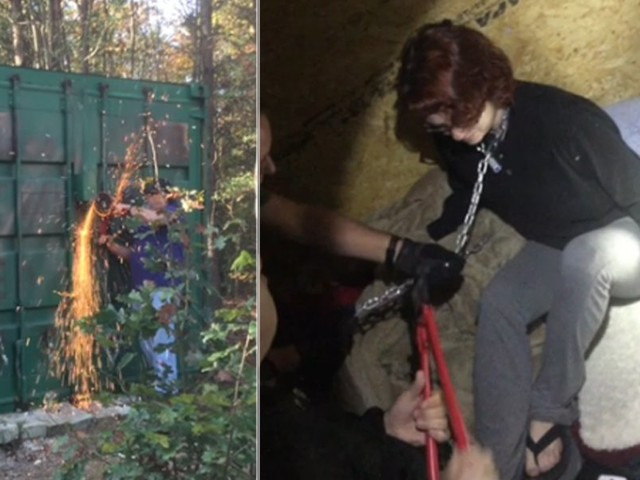 Chilling video shows rescue of rape victim chained inside metal container by serial killer