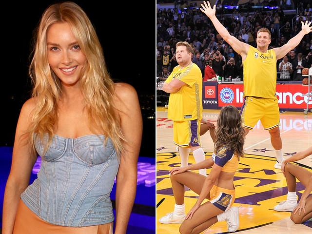 Camille Kostek reacts to Rob Gronkowski, James Corden's Lakers dance