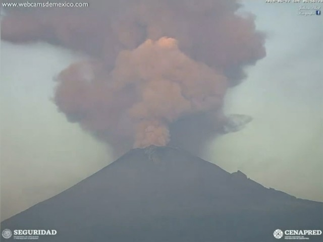 Mexico's Popocatepetl volcano erupts, spews gas, ash into the air