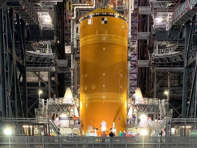 Photos shows NASA's newly-assembled megarocket, which is taller than the Statue of Liberty and its most powerful launch vehicle built since the 1960s