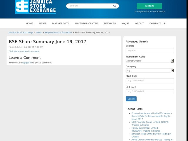 BSE Share Summary June 19, 2017