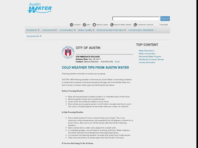 Cold Weather Tips From Austin Water