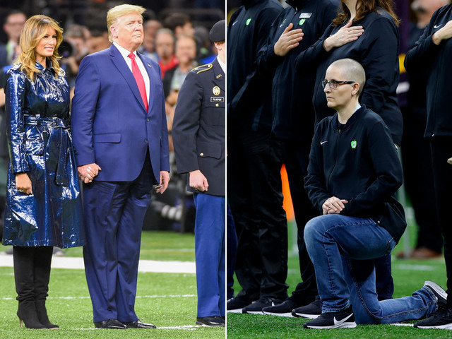 'Teacher of the Year' took a knee during anthem at college football game attended by Trump
