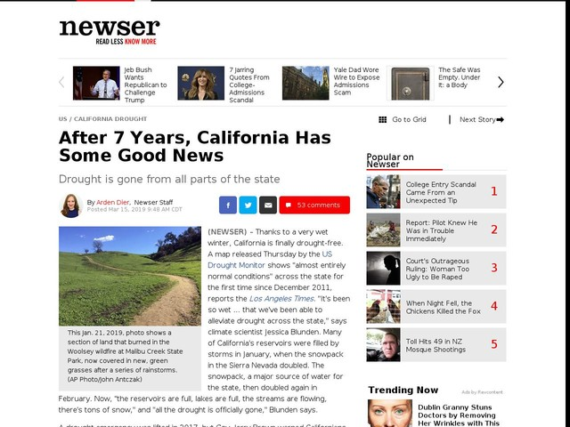 After 7 Years, California Has Some Good News