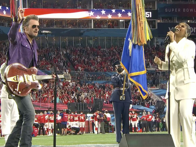 Watch Eric Church and Jazmine Sullivan's soulful, syncopated Super Bowl national anthem; H.E.R. shreds on 'America the Beautiful'