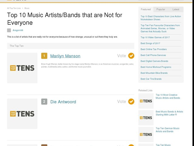 Top 10 Music Artists/Bands that are Not for Everyone