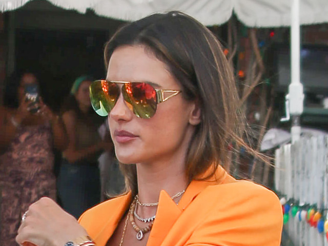 Alessandra Ambrosio Pops in a Bold Orange Blazer and Square-Toe Bottega Veneta Mules