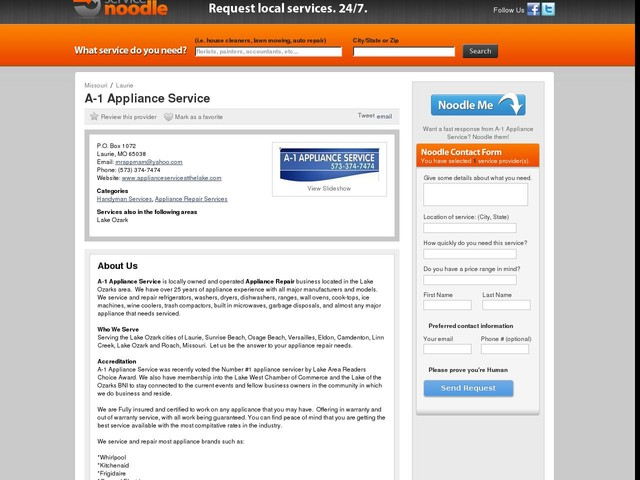 A-1 Appliance Service in Laurie, MO - Service Noodle