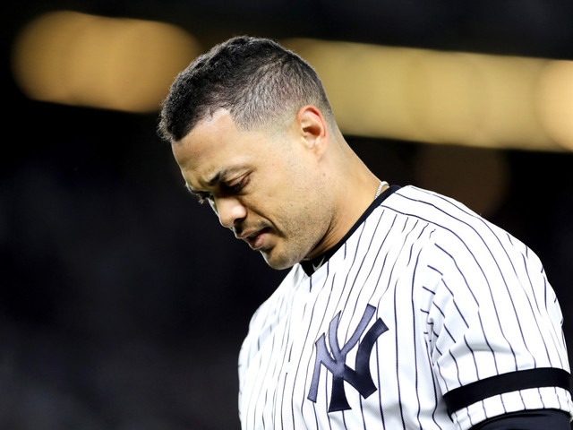Giancarlo Stanton out of Yankees' ALCS Game 3 lineup