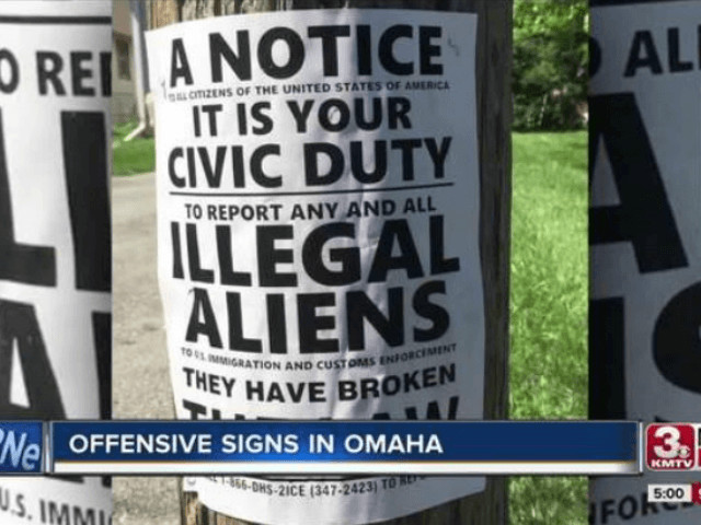 Omaha Residents Rushing to Remove Signs Urging People to Report Illegal Aliens