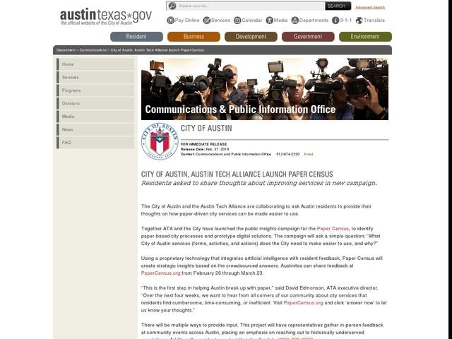 City of Austin, Austin Tech Alliance launch Paper Census