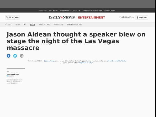 Jason Aldean thought speaker blew on stage during Vegas shooting
